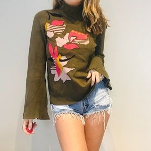 Anthro k & k green floral bell sleeve sweater